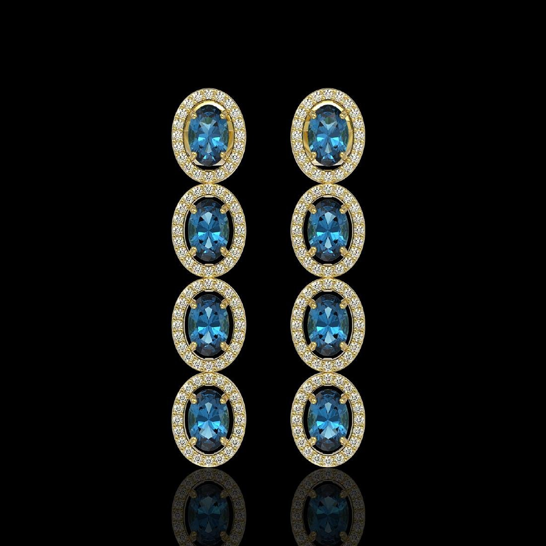 6.28 CTW London Topaz & Diamond Earrings Yellow Gold