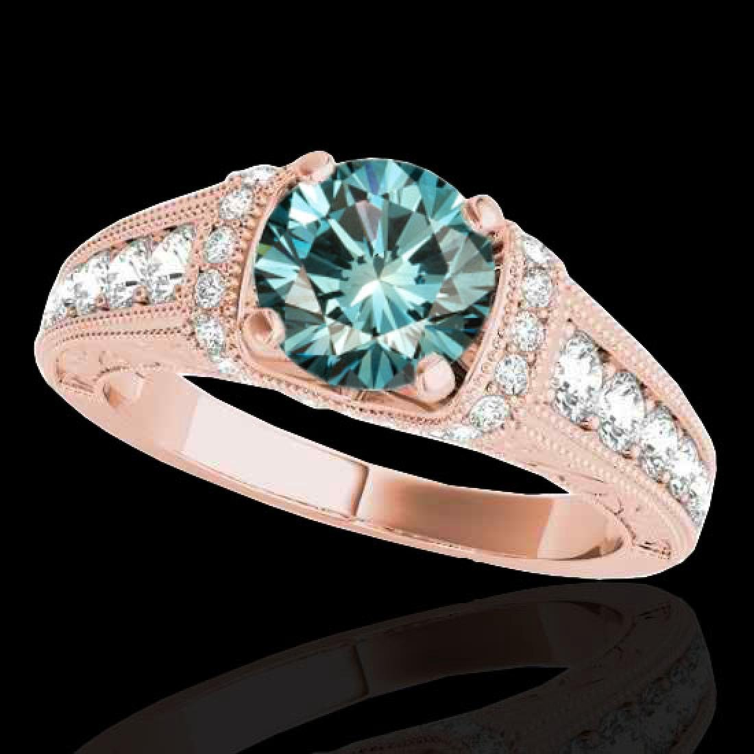 1.50 CTW SI Certified Fancy Blue Diamond Solitaire