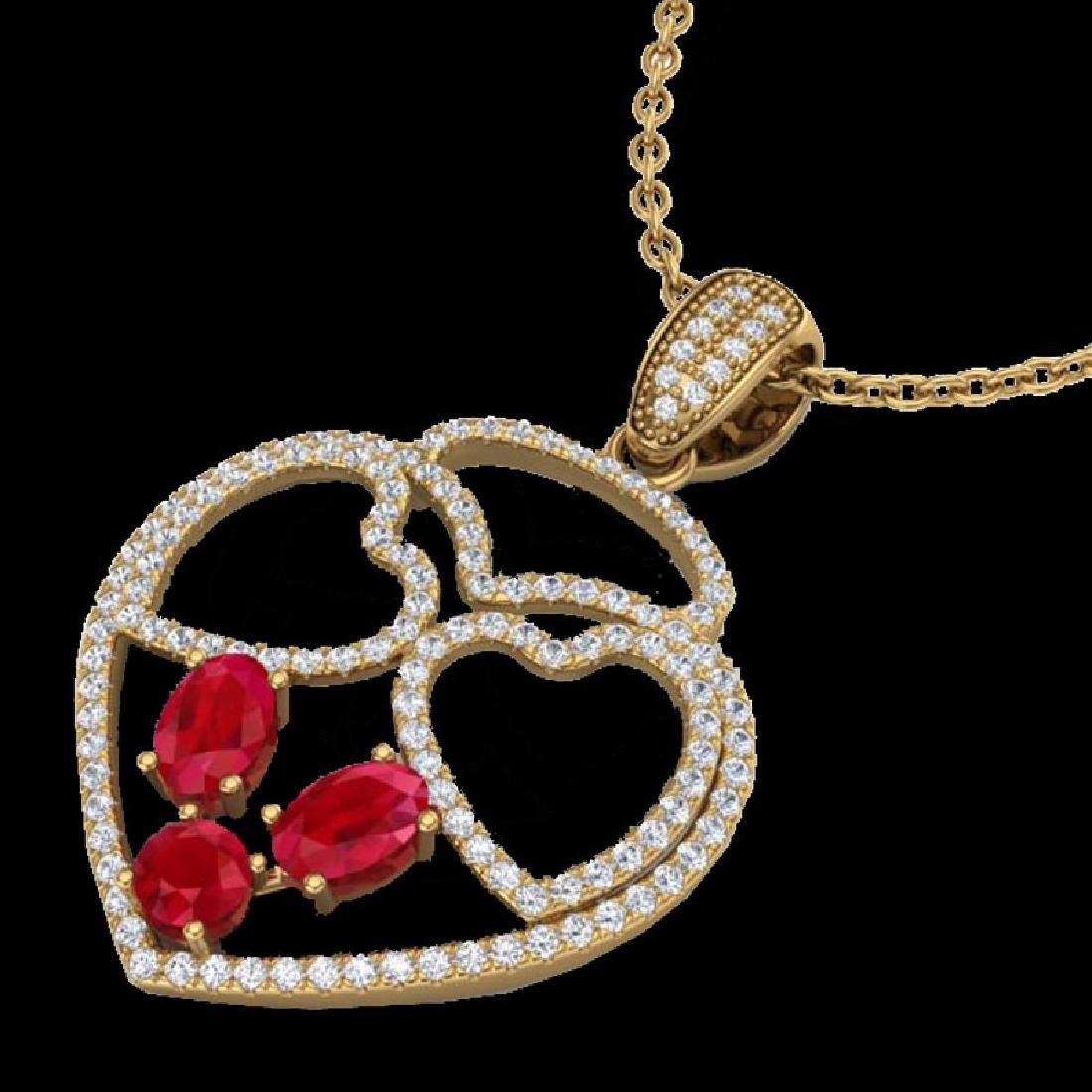 3 CTW Ruby & Micro Pave Designer Inspired Heart