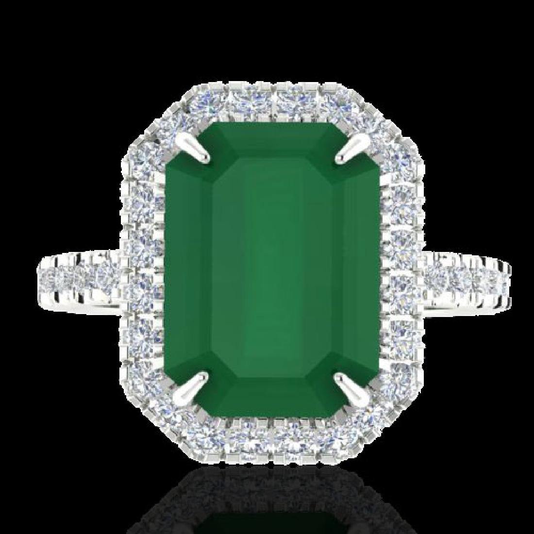 5.33 CTW Emerald And Micro Pave VS/SI Diamond Certified