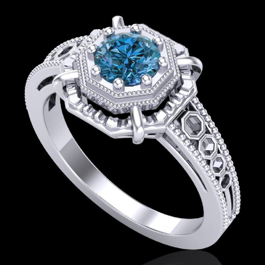 0.53 CTW Fancy Intense Blue Diamond Solitaire Art Deco