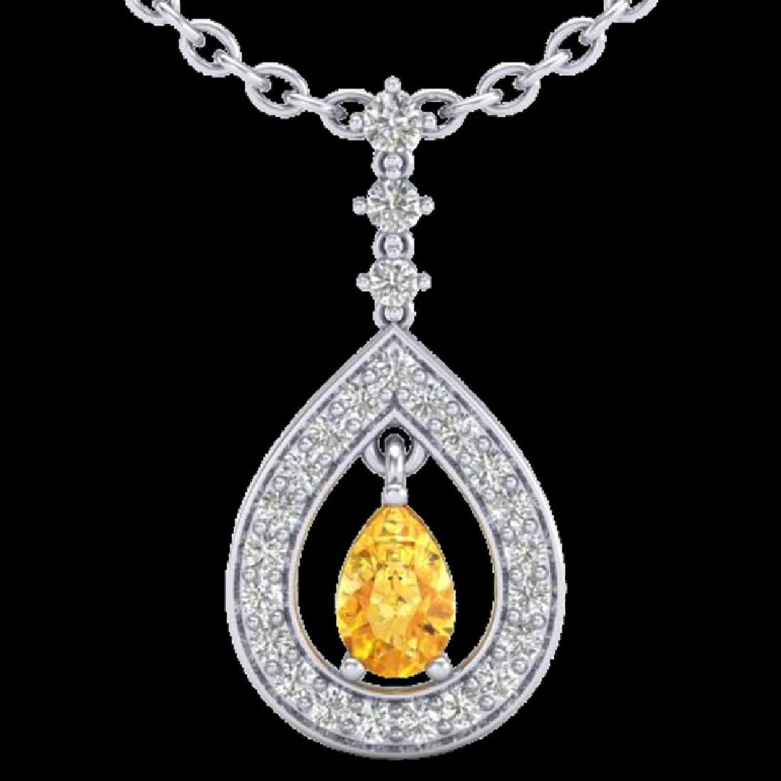 1.15 CTW Citrine & Micro Pave VS/SI Diamond Necklace - 2