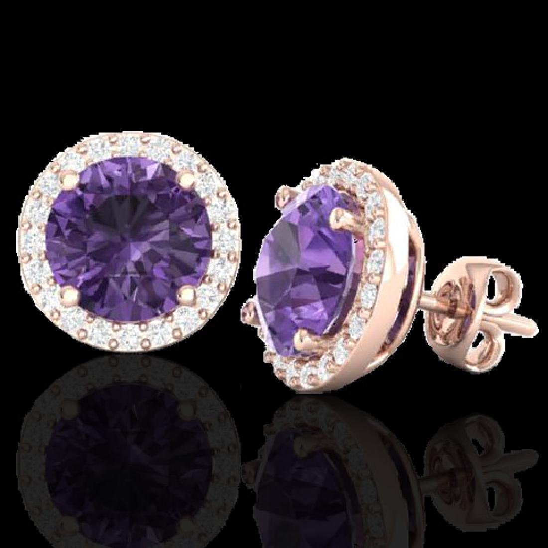 4 CTW Amethyst & Halo VS/SI Diamond Micro Pave Earrings - 2