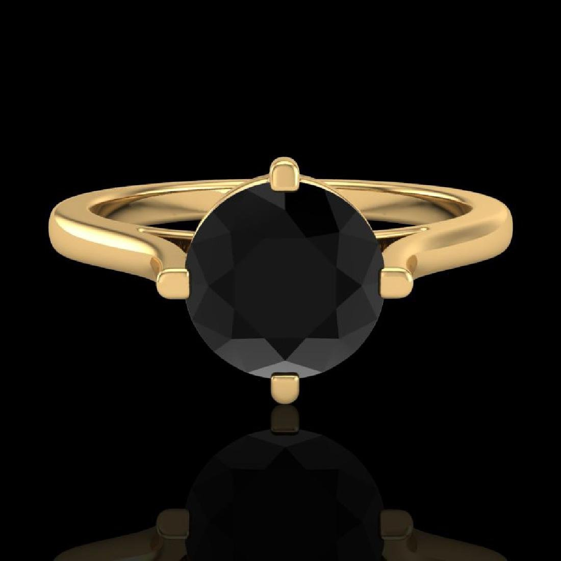 1.25 CTW Fancy Black Diamond Solitaire Engagement Art - 2