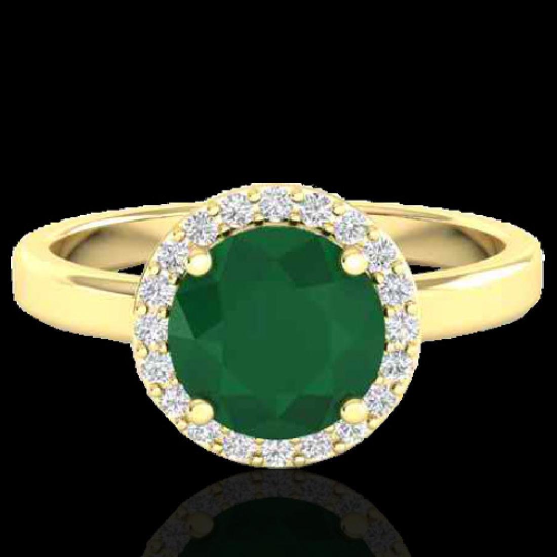 2 CTW Emerald & Halo VS/SI Diamond Micro Pave Ring