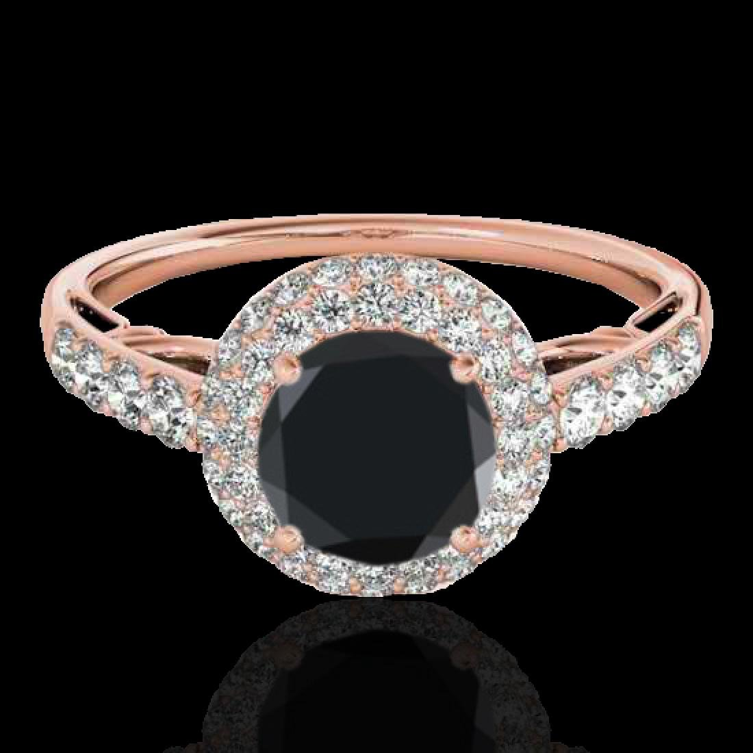 1.65 CTW Certified VS Black Diamond Solitaire Halo Ring