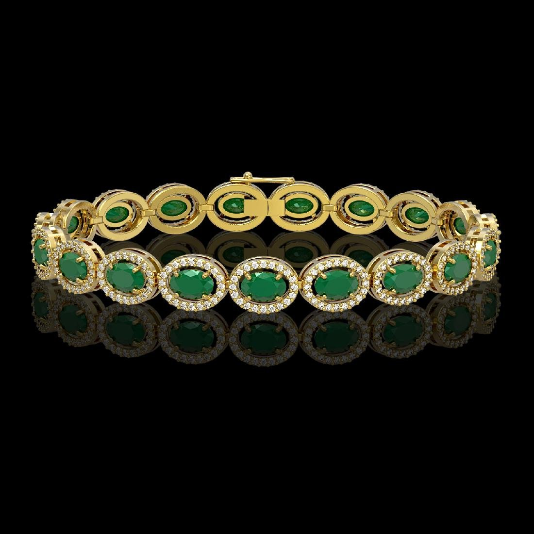 15.2 CTW Emerald & Diamond Halo Bracelet 10K Yellow