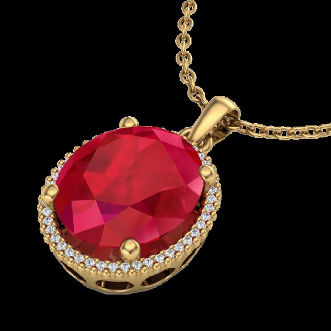 12 CTW Ruby & Micro Pave VS/SI Diamond Halo Necklace - 2