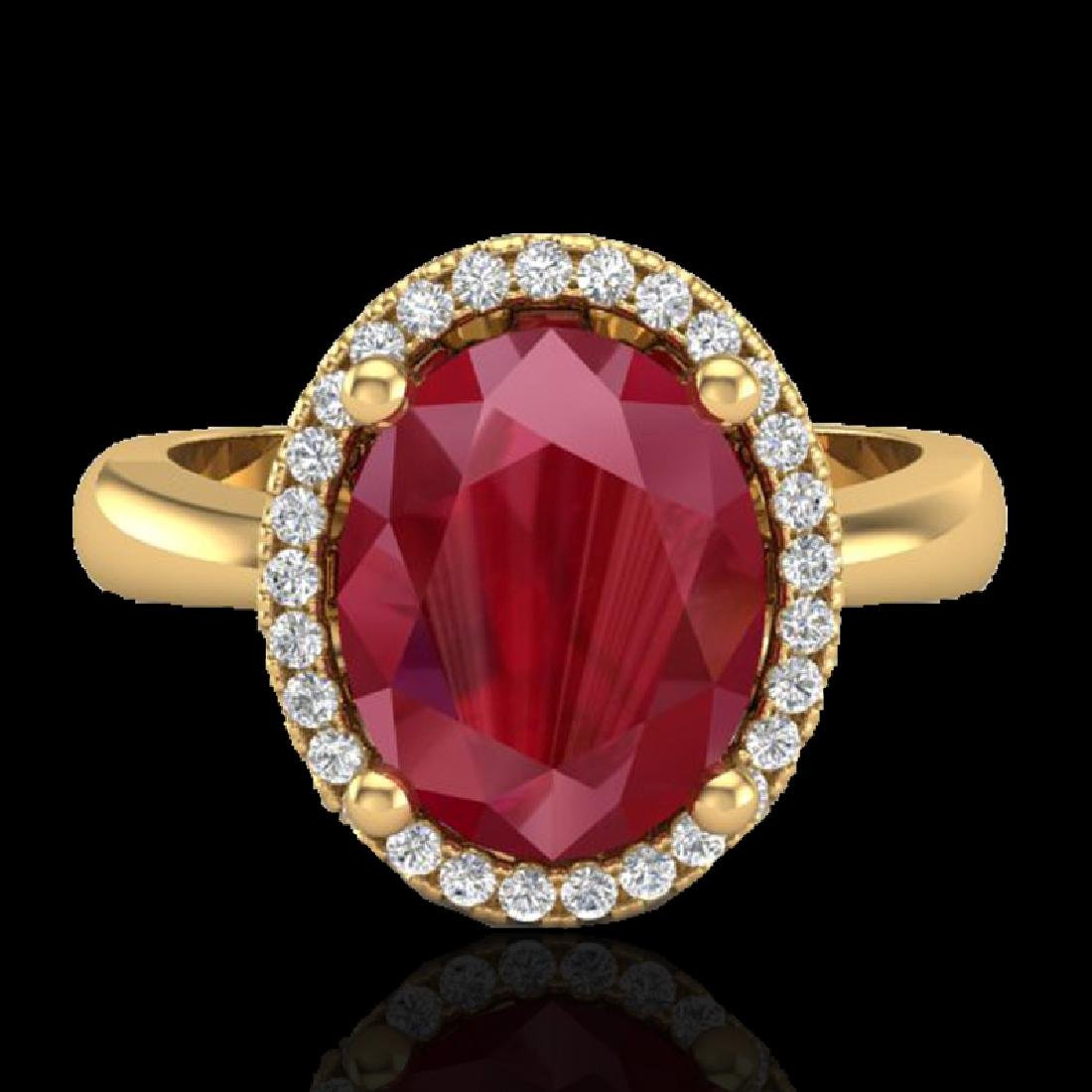 3 CTW Ruby And Micro Pave VS/SI Diamond Ring Halo 18K