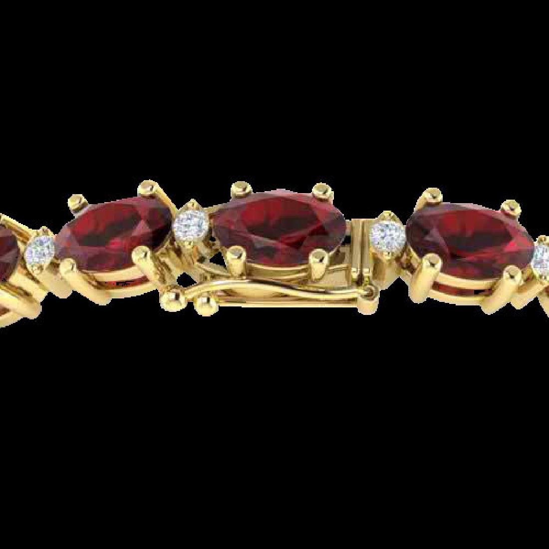 15 CTW Garnet & VS/SI Diamond Eternity Bracelet 10K