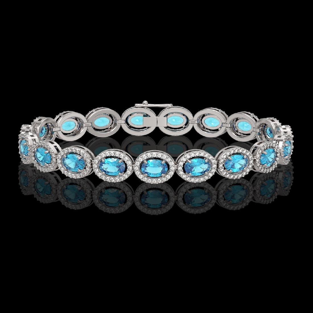 14.82 CTW Swiss Topaz & Diamond Halo Bracelet 10K White