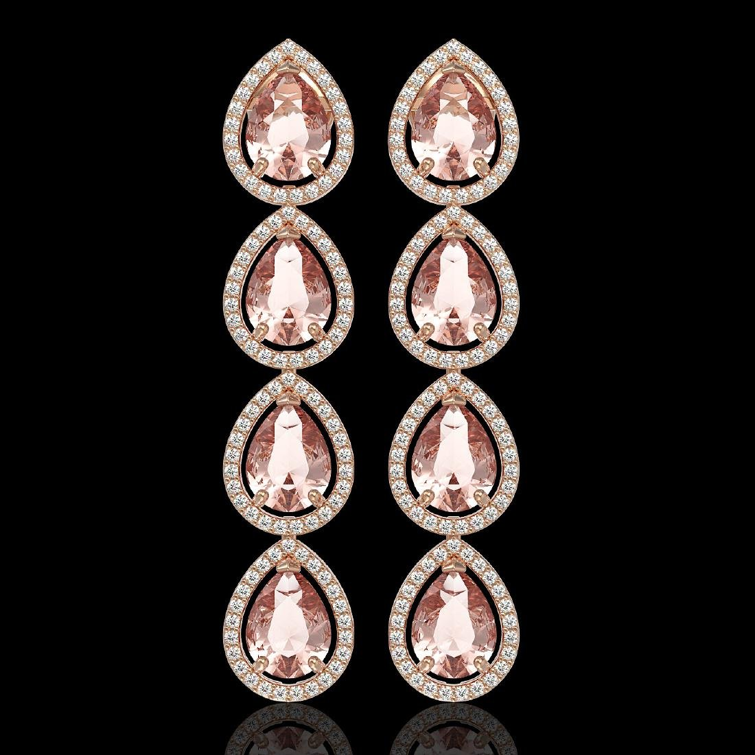 10.4 CTW Morganite & Diamond Halo Earrings 10K Rose