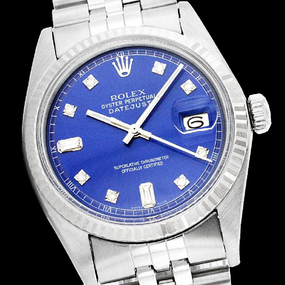 Rolex Men's Stainless Steel, QuickSet, Diamond Dial