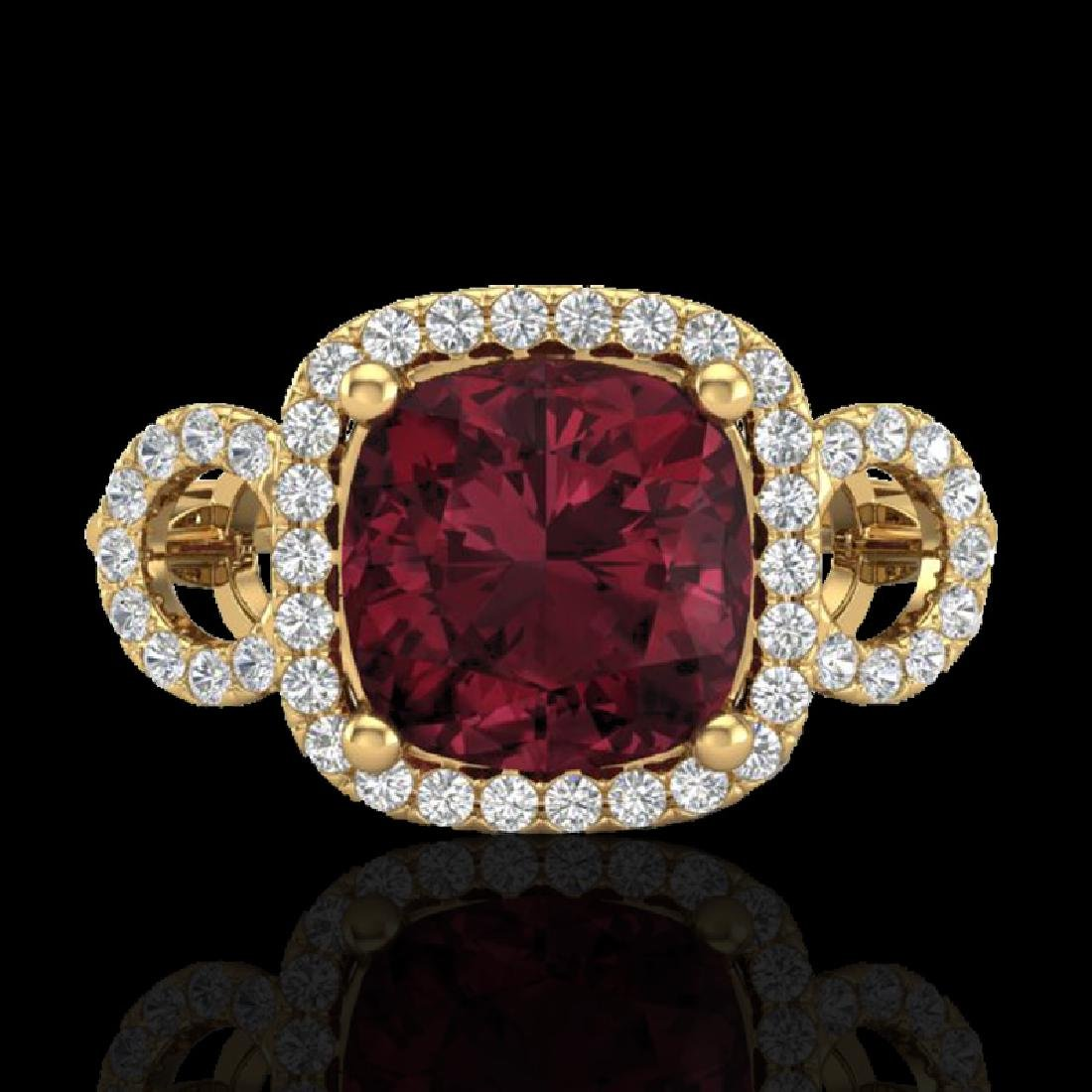 3.75 CTW Garnet & Micro VS/SI Diamond Ring 18K Yellow