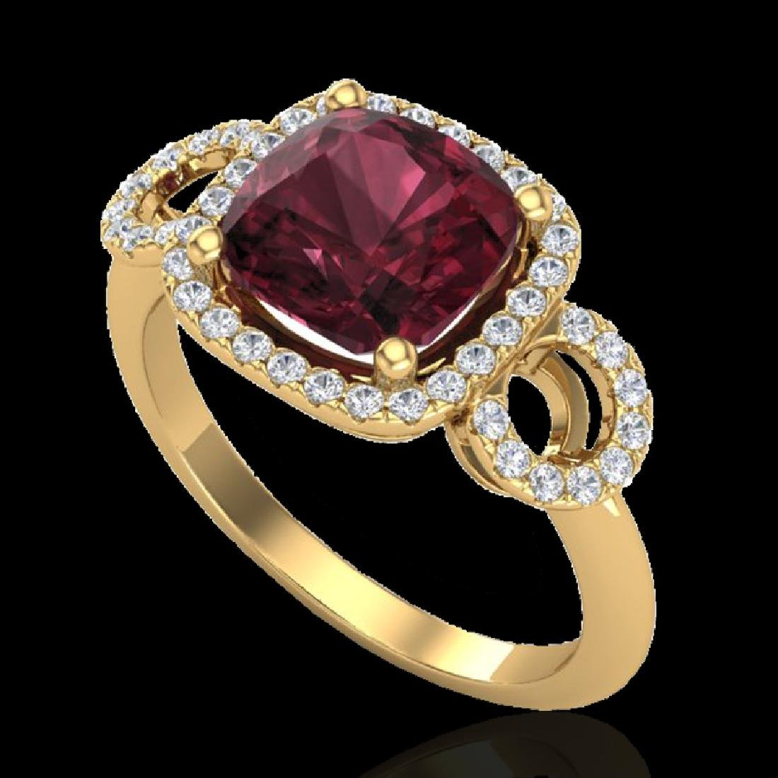 3.75 CTW Garnet & Micro VS/SI Diamond Ring 18K Yellow - 2
