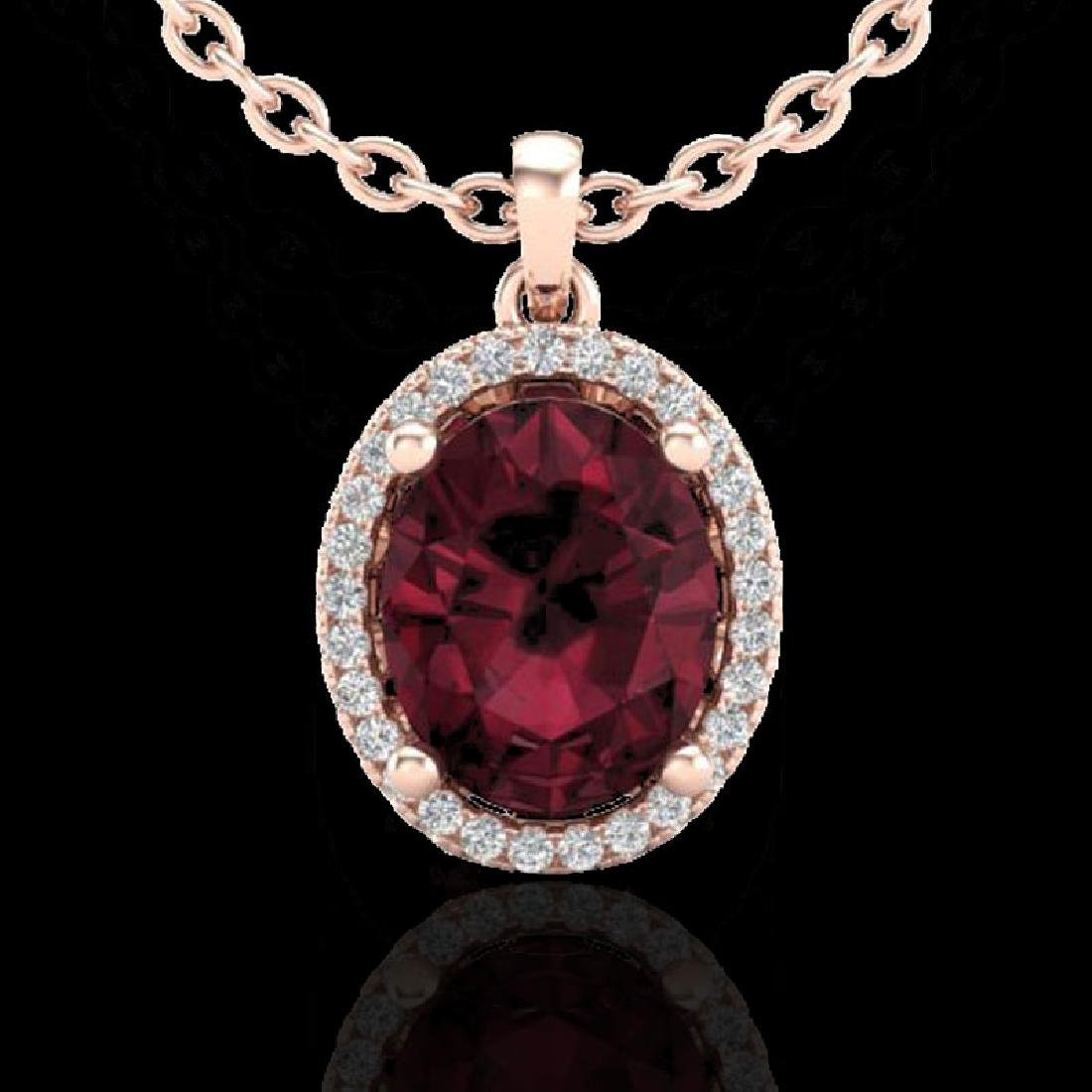 2.50 CTW Garnet & Micro Pave VS/SI Diamond Necklace - 2