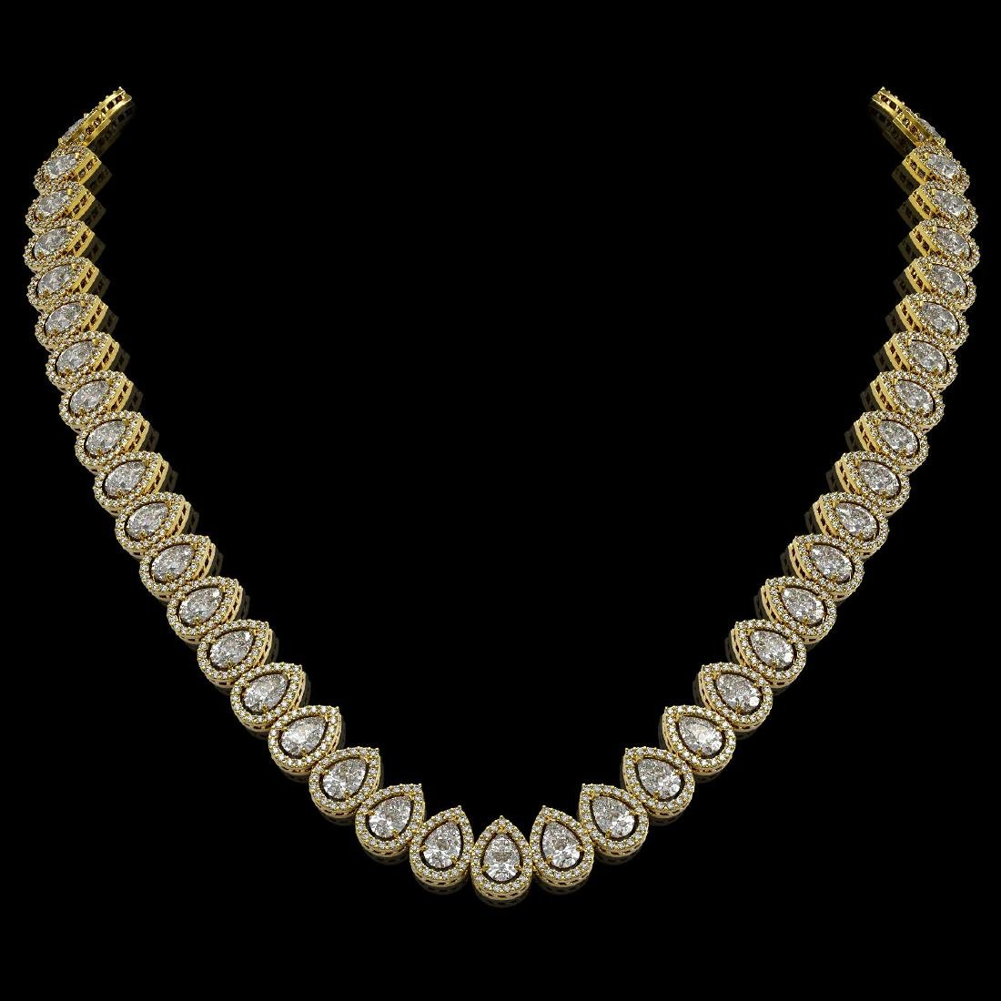 34.83 CTW Pear Diamond Designer Necklace 18K Yellow