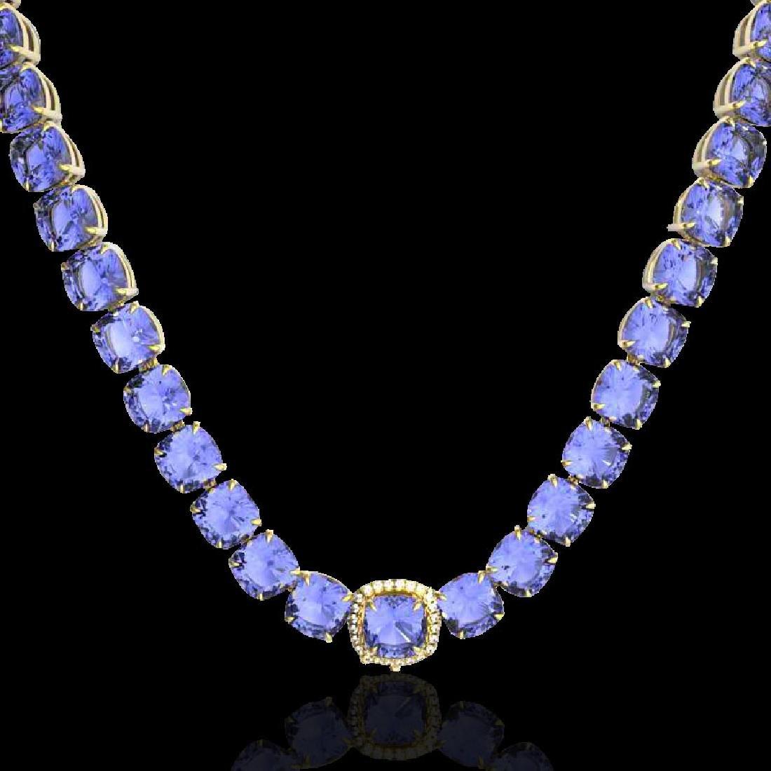100 CTW Tanzanite & VS/SI Diamond Halo Micro Necklace