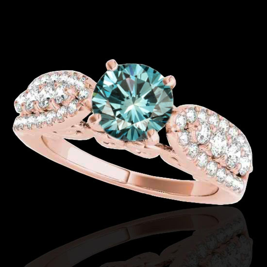 1.7 CTW SI Certified Fancy Blue Diamond Solitaire Ring