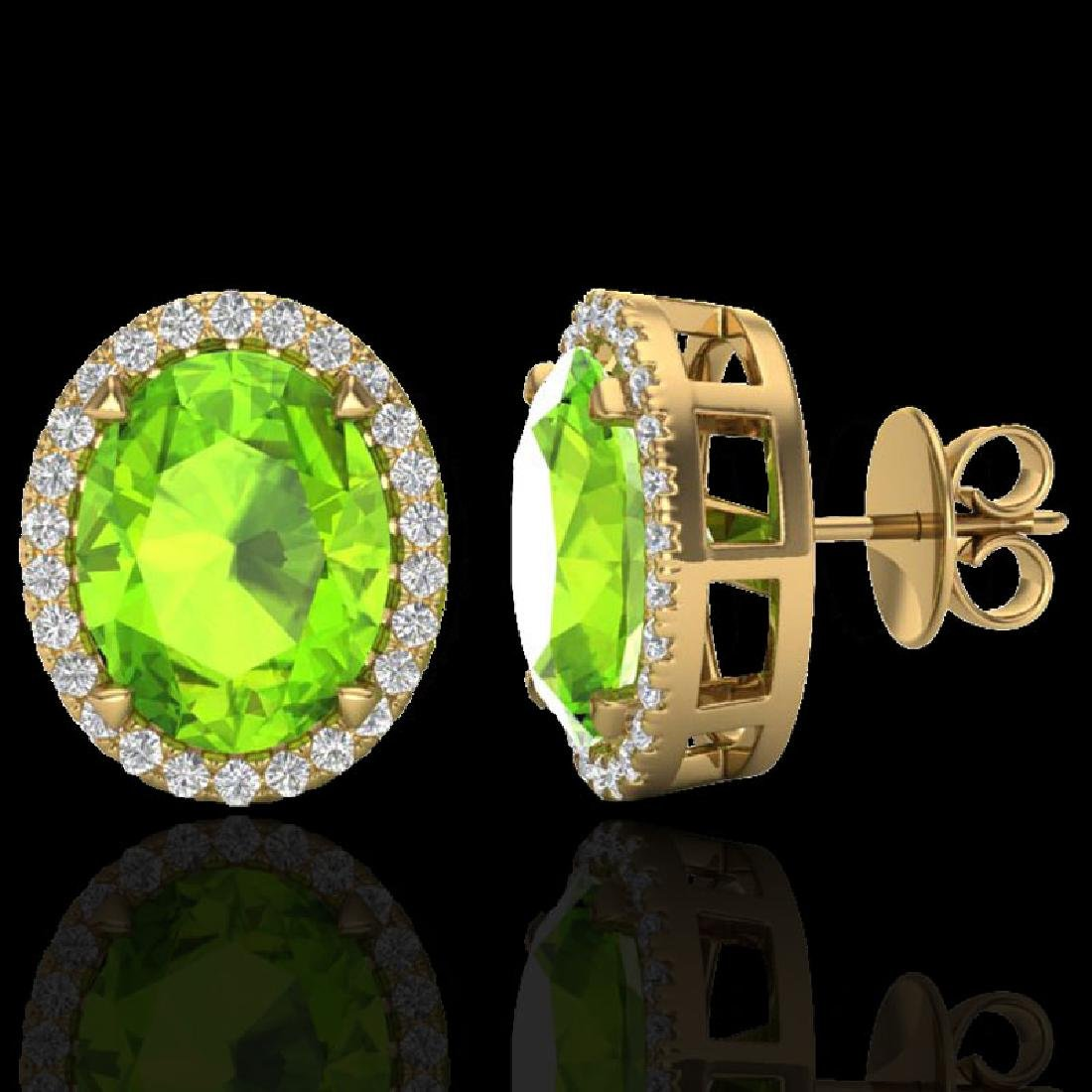 5.50 CTW Peridot & Micro VS/SI Diamond Halo Earrings - 2