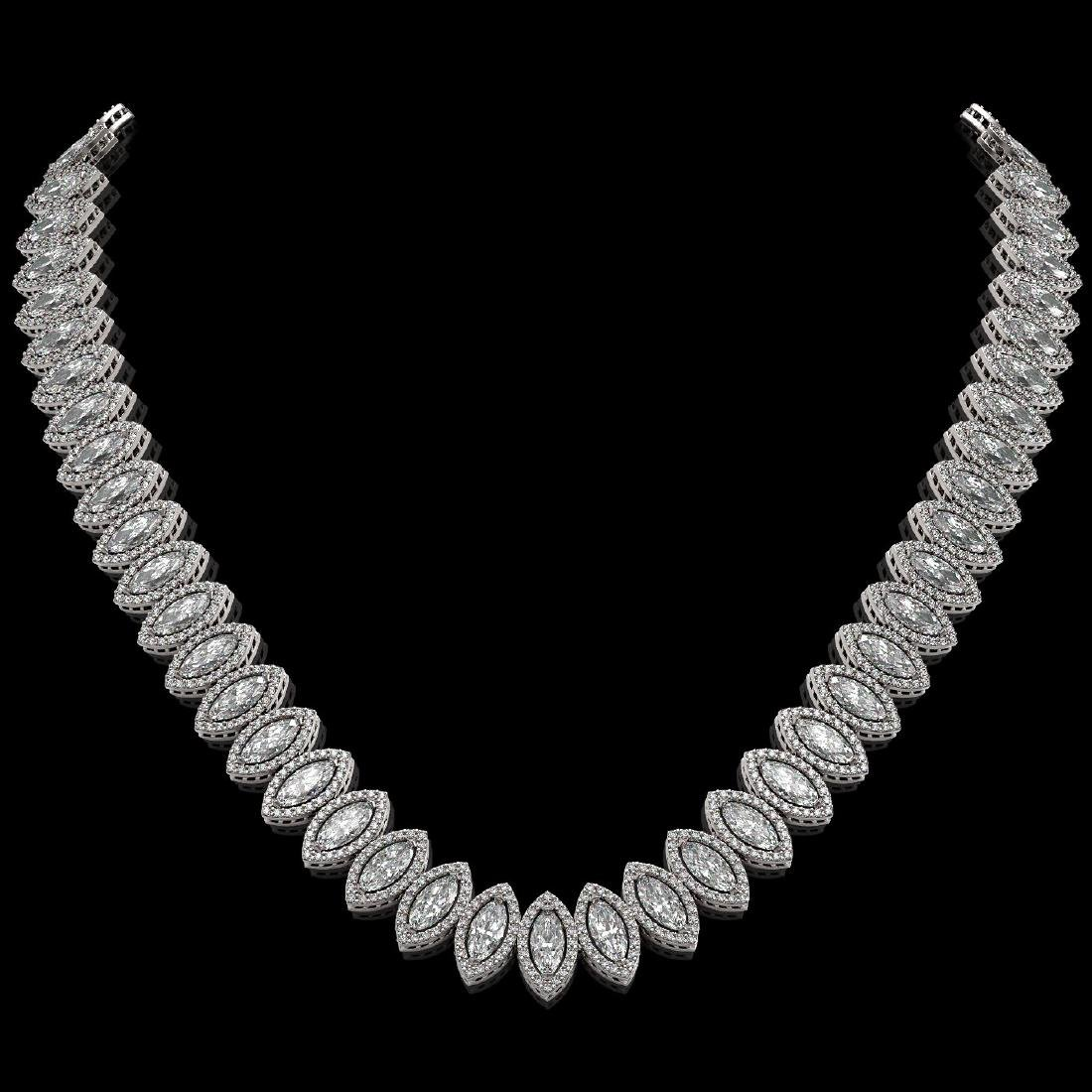 39.68 CTW Marquise Diamond Designer Necklace 18K White