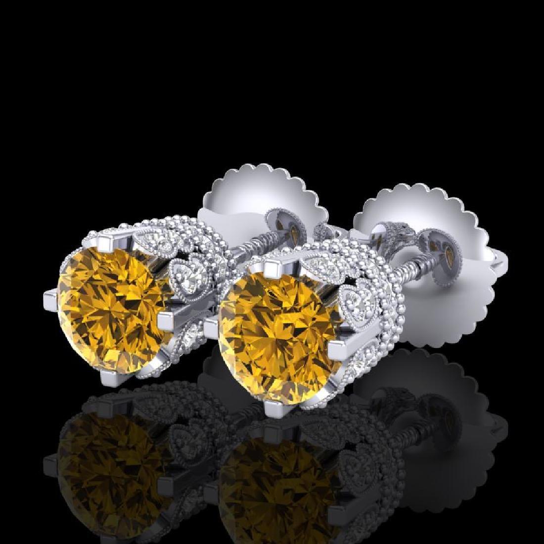 1.75 CTW Intense Fancy Yellow Diamond Art Deco Stud