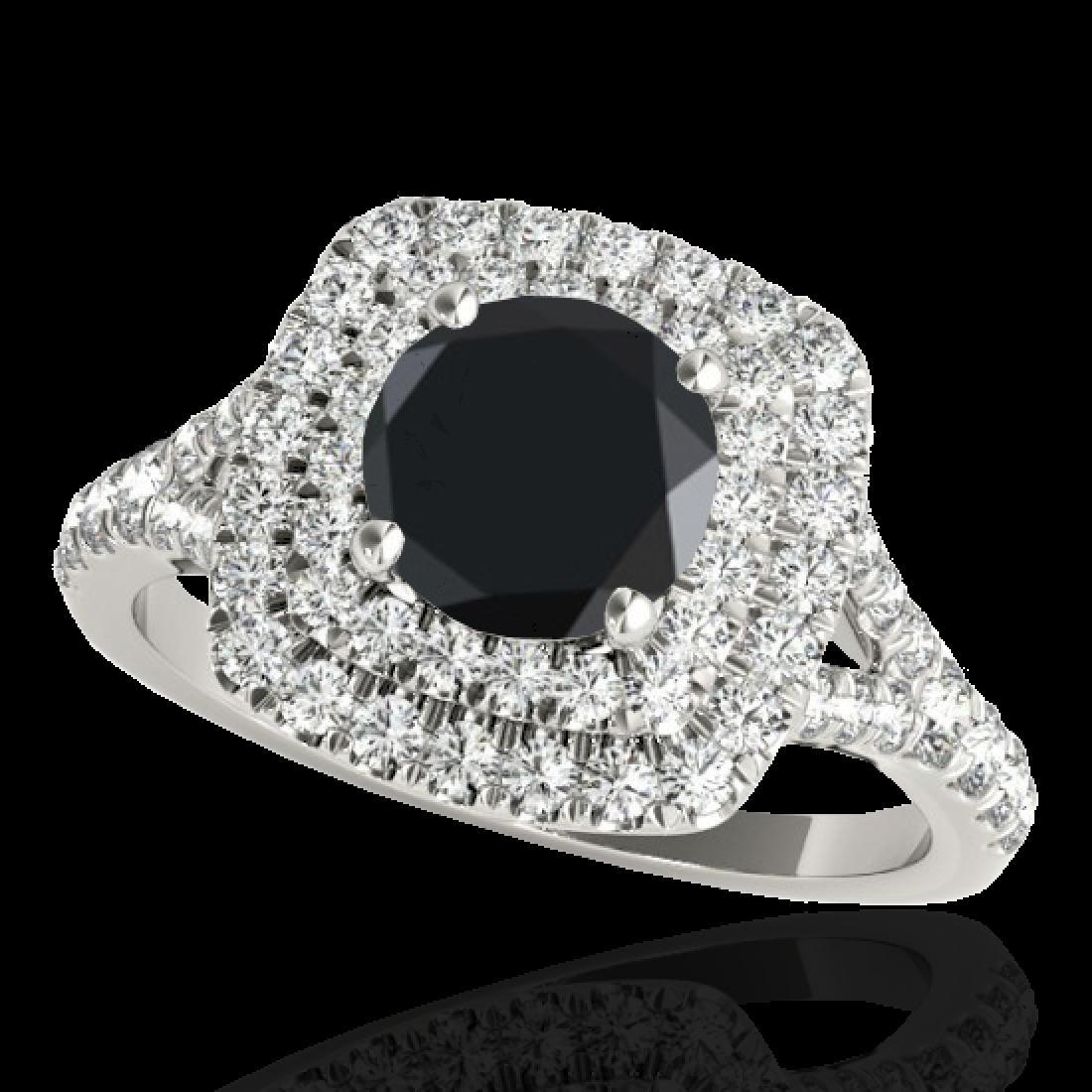 1.6 CTW Certified VS Black Diamond Solitaire Halo Ring