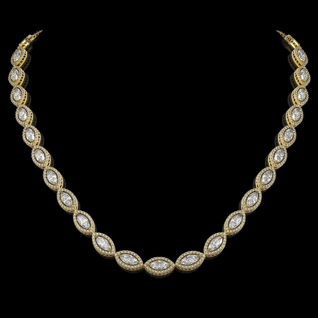 24.42 CTW Marquise Diamond Designer Necklace 18K Yellow