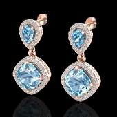 7 CTW Sky Blue Topaz  Micro VSSI Diamond Earrings