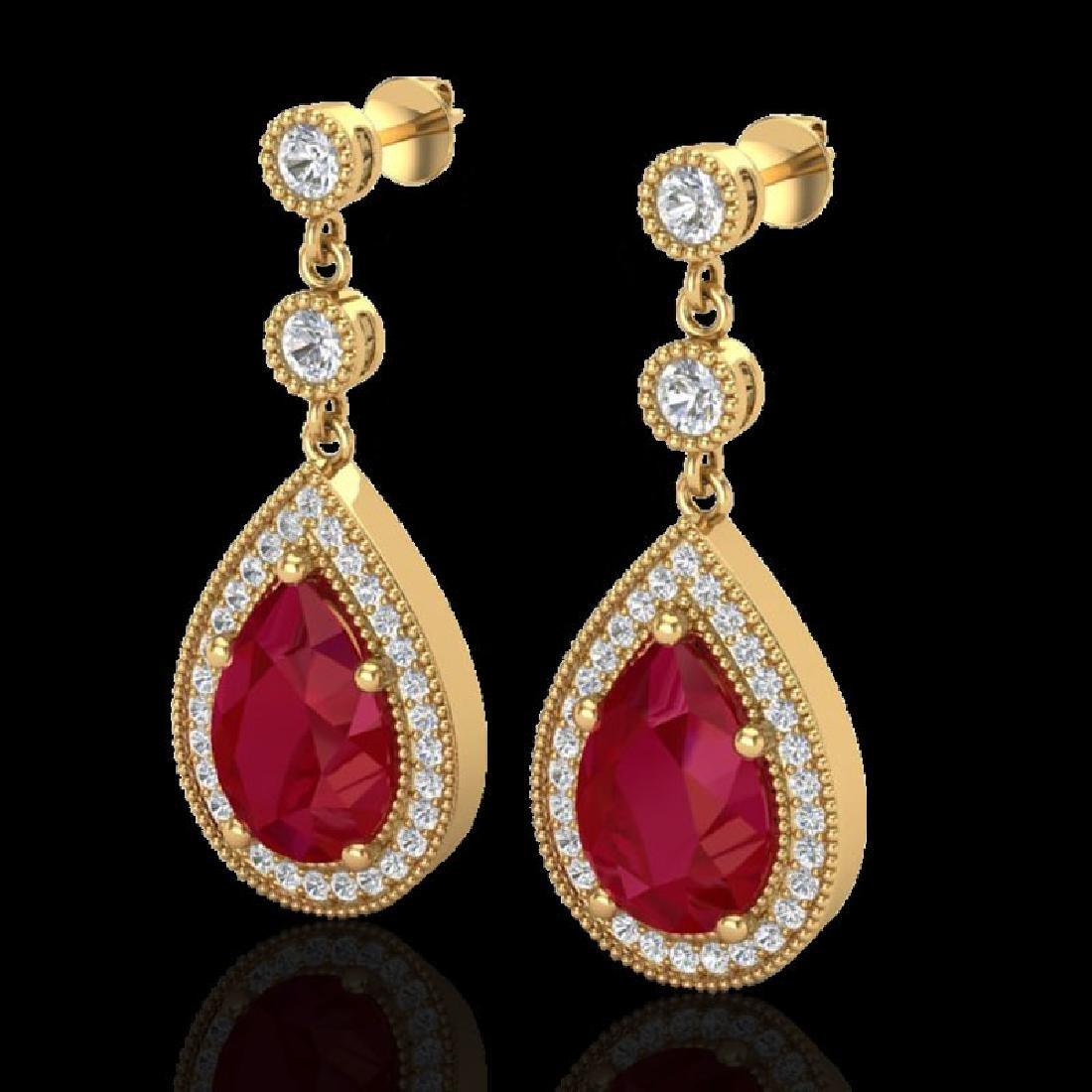 6 CTW Ruby & Micro Pave VS/SI Diamond Earrings Designer