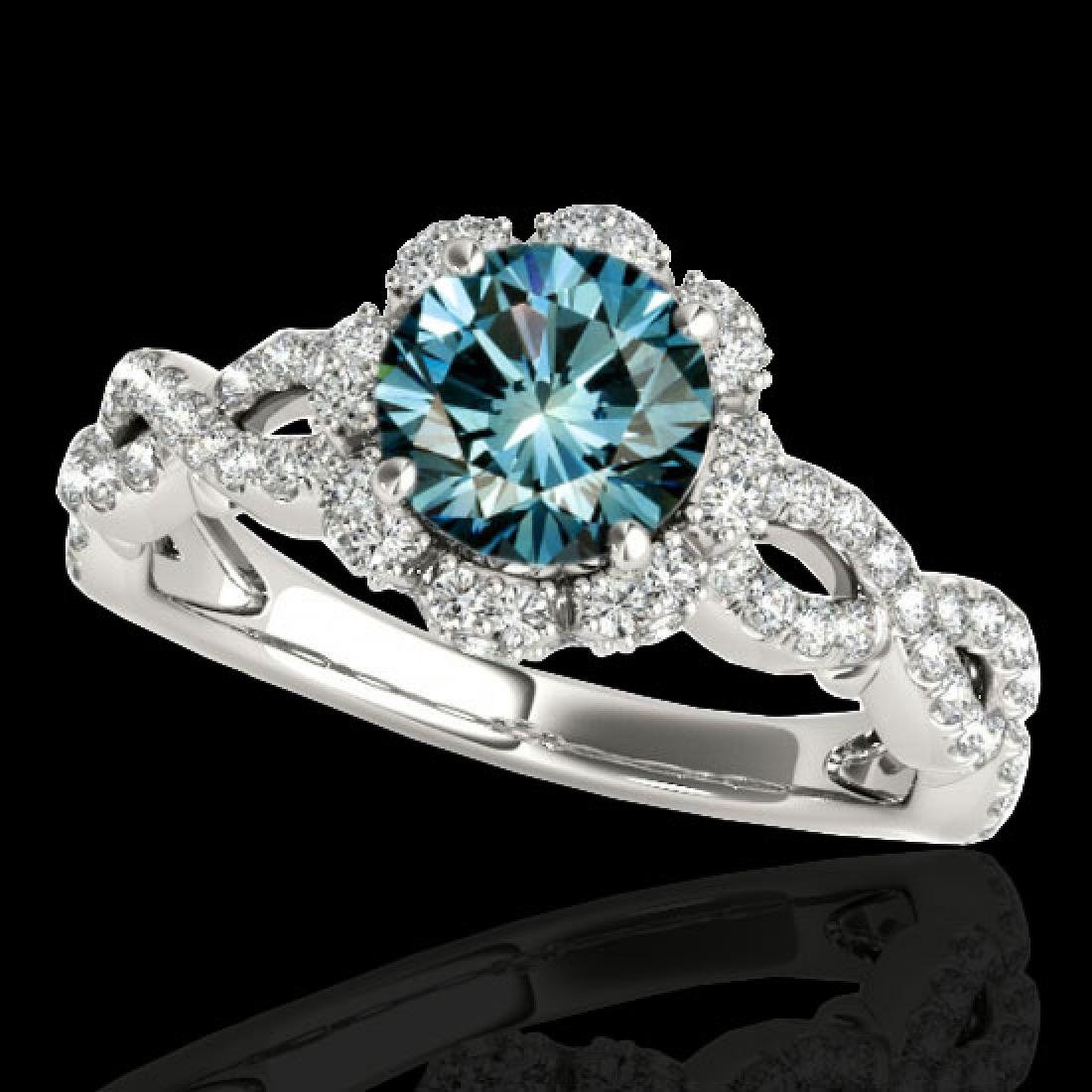1.69 CTW SI Certified Fancy Blue Diamond Solitaire Halo