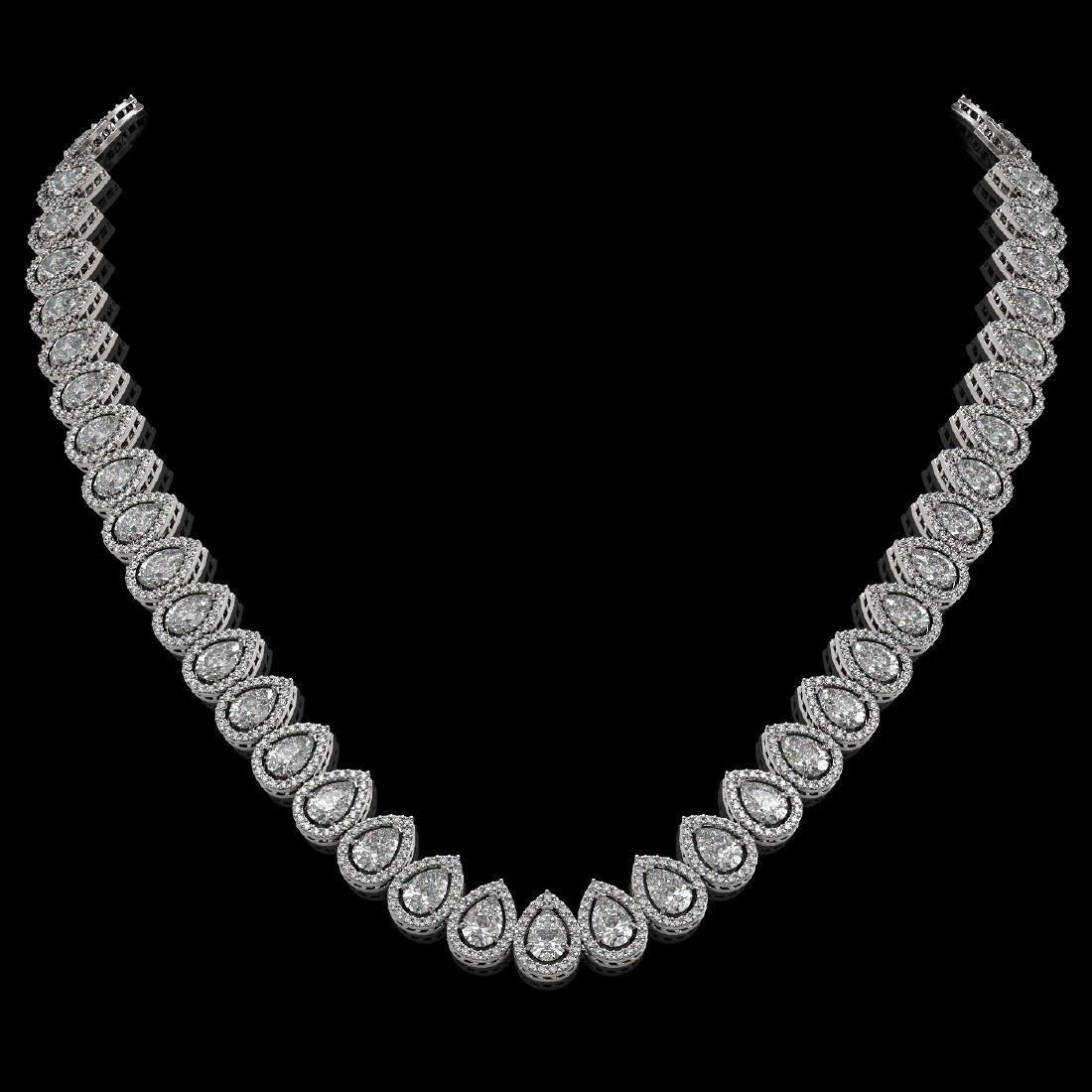 34.83 CTW Pear Diamond Designer Necklace 18K White Gold