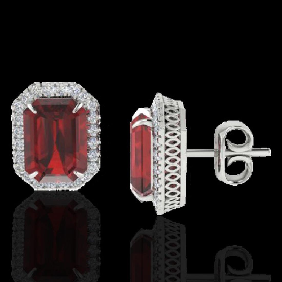 12 CTW Garnet And Micro Pave VS/SI Diamond Halo - 2