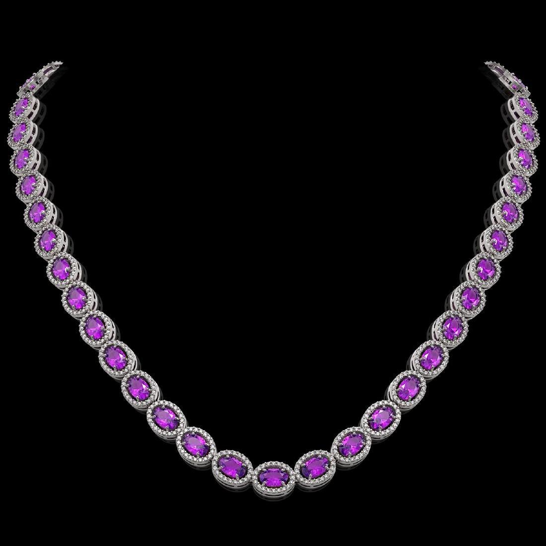 29.38 CTW Amethyst & Diamond Halo Necklace 10K White