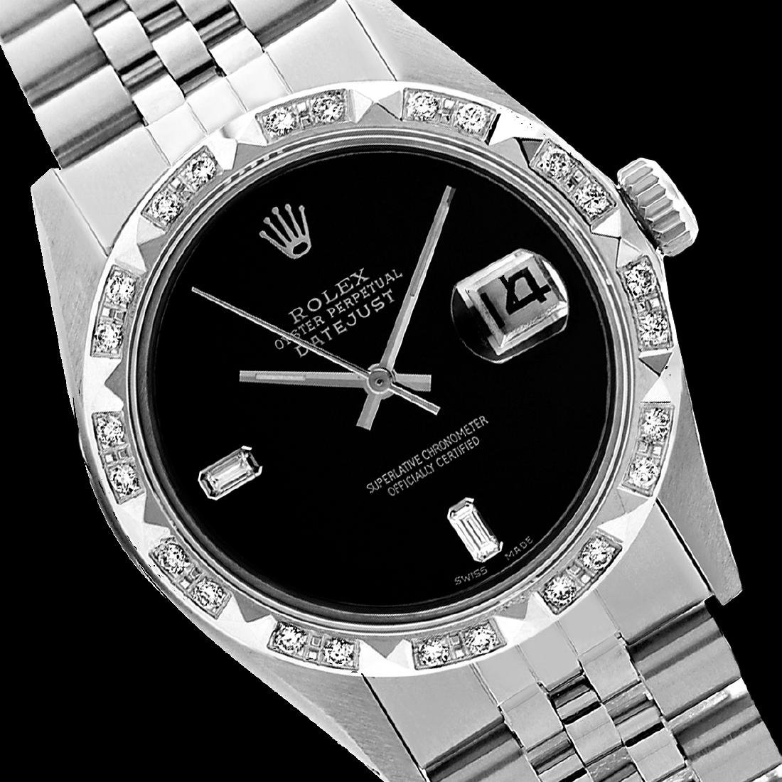 Rolex Men's Stainless Steel, QuickSet, Diam Dial with