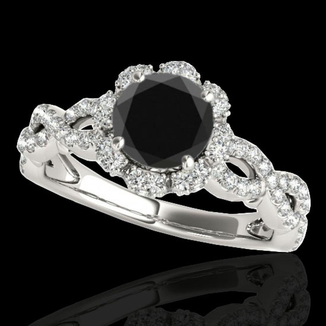1.69 CTW Certified VS Black Diamond Solitaire Halo Ring
