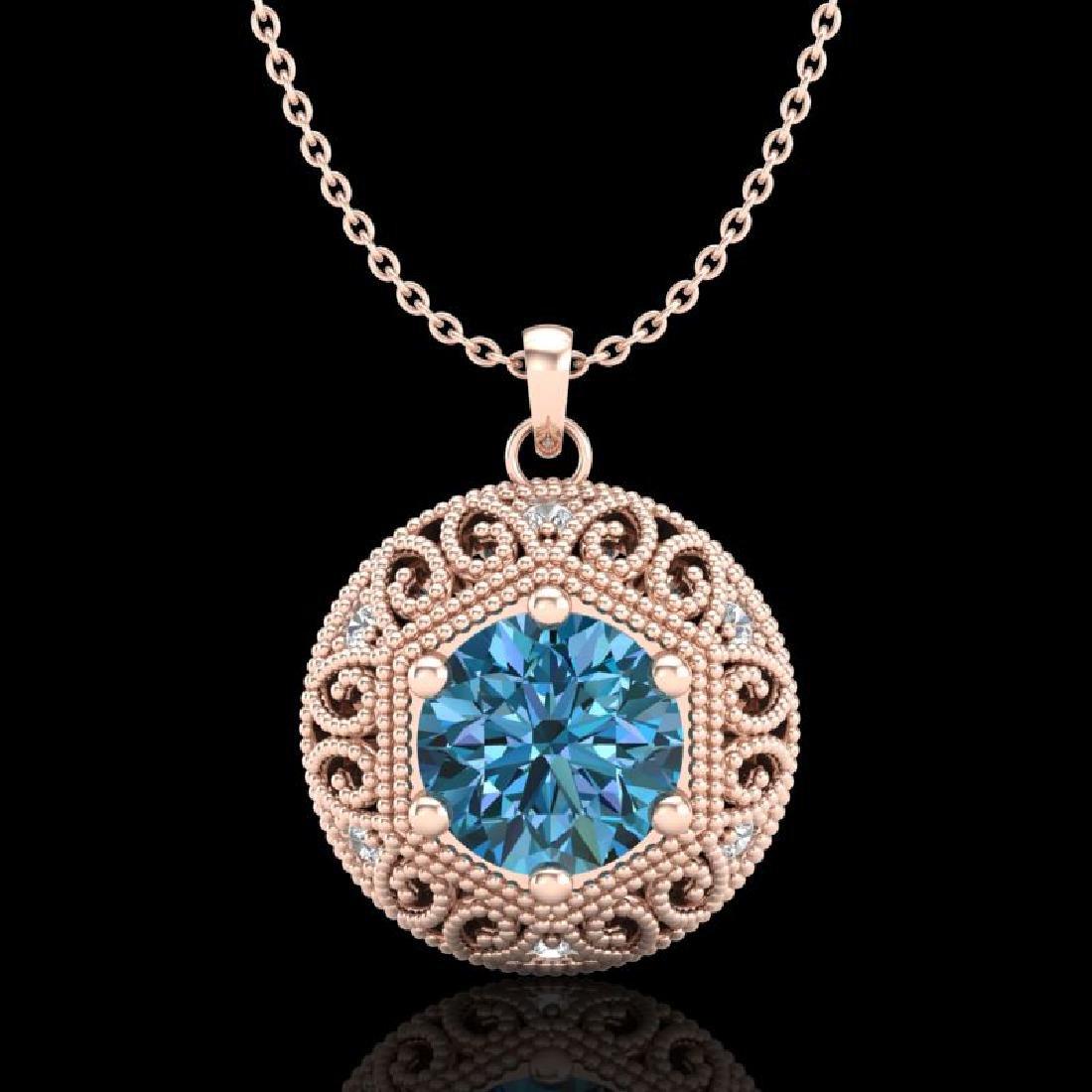 1.11 CTW Fancy Intense Blue Diamond Solitaire Art Deco