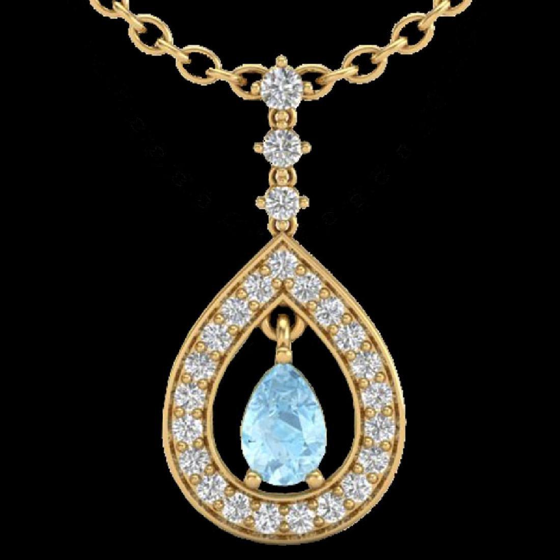 1.15 CTW Aquamarine & Micro Pave VS/SI Diamond Necklace - 2