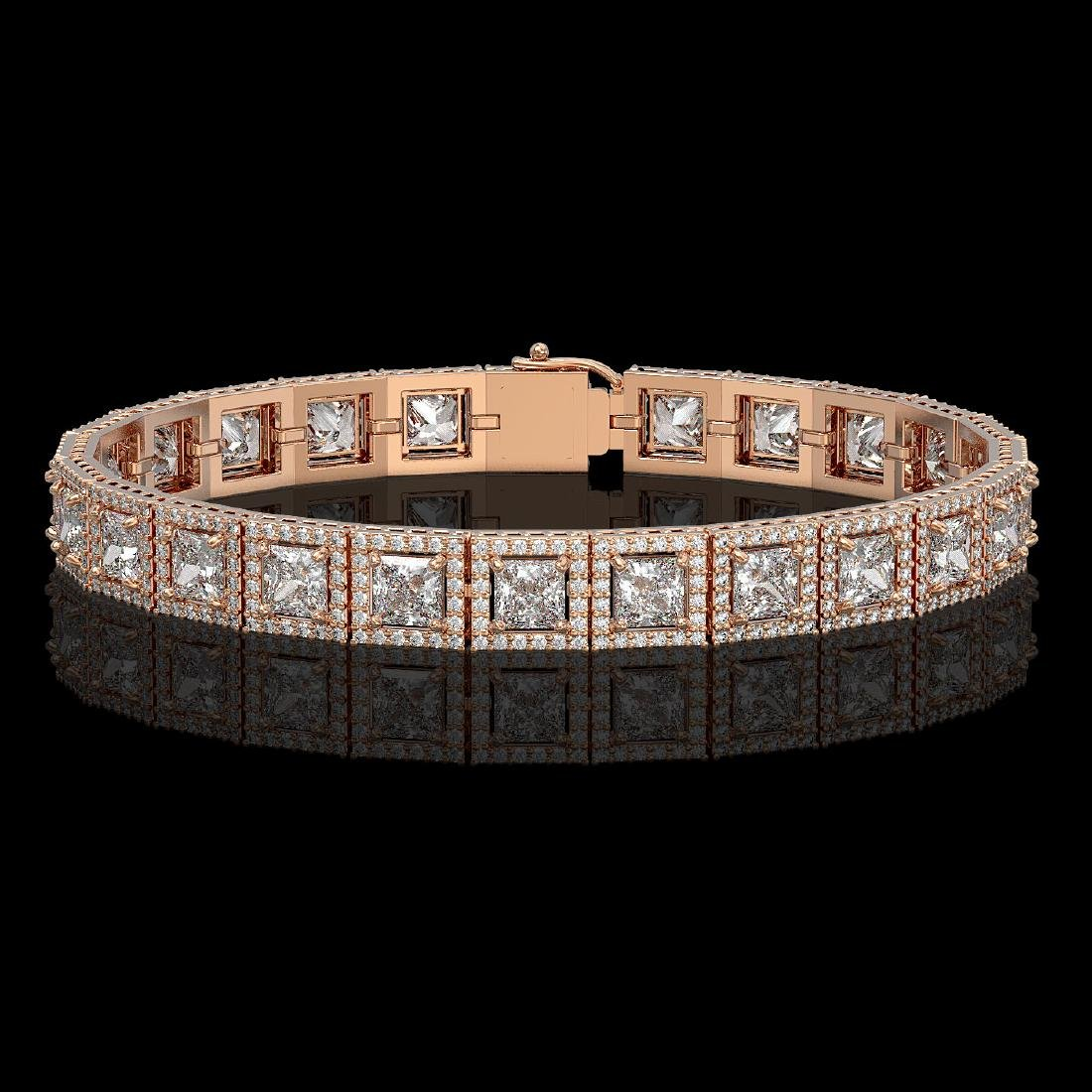 15.87 CTW Princess Diamond Designer Bracelet 18K Rose