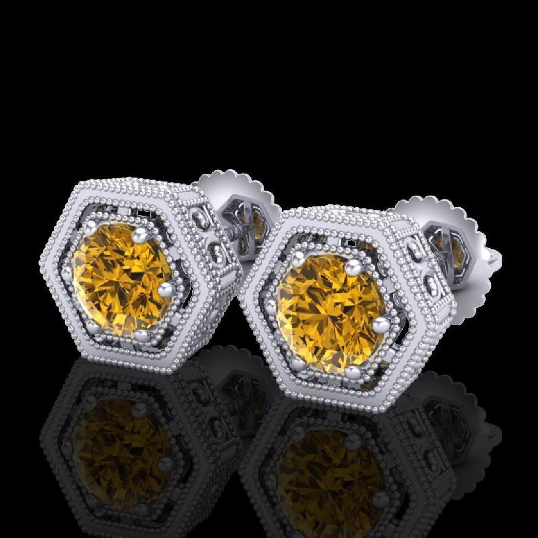1.07 CTW Intense Fancy Yellow Diamond Art Deco Stud