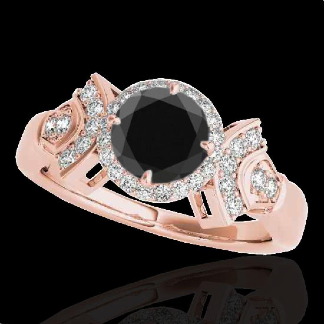 1.56 CTW Certified VS Black Diamond Solitaire Halo Ring