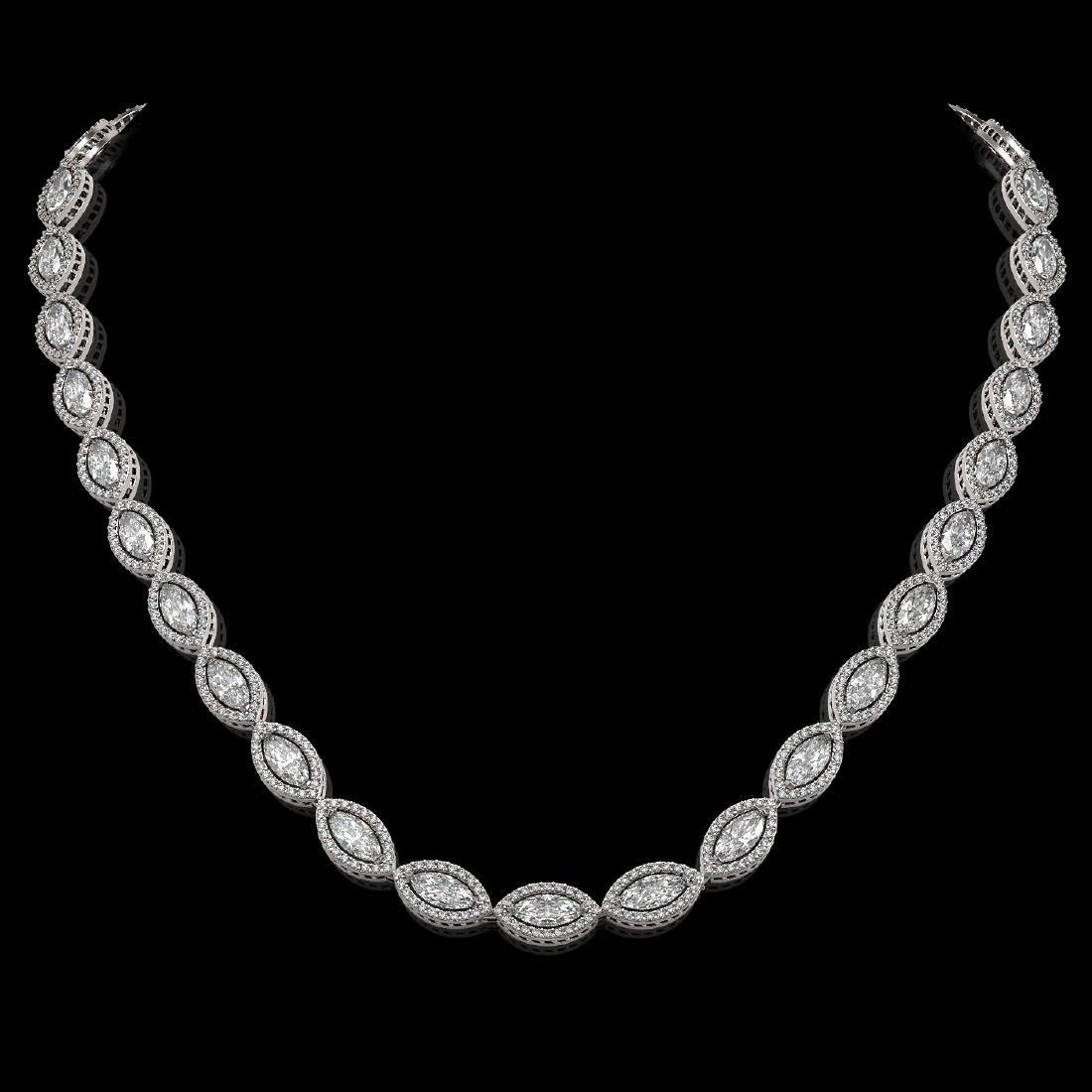 24.42 CTW Marquise Diamond Designer Necklace 18K White