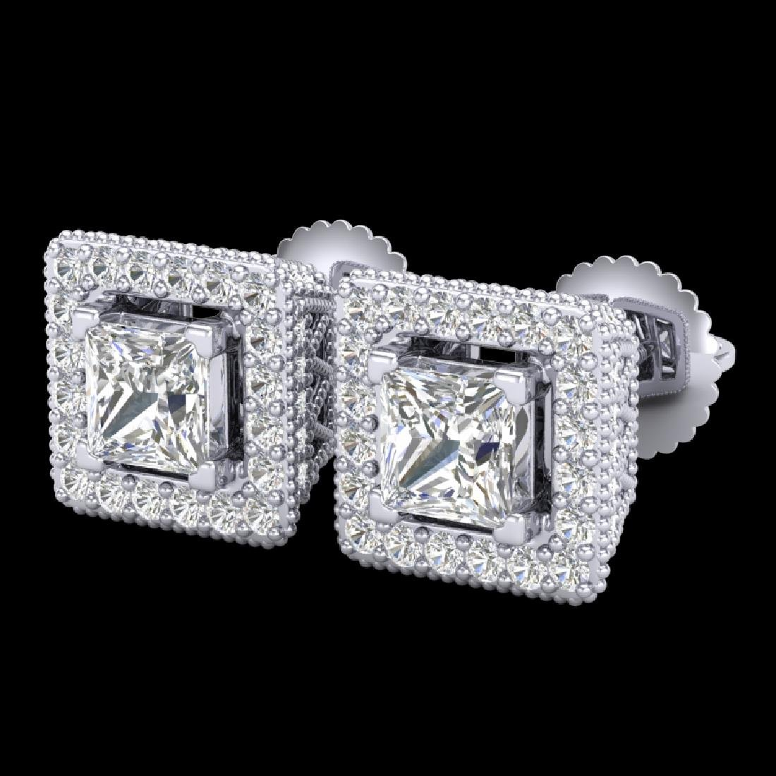 2.25 CTW Princess VS/SI Diamond Micro Pave Stud