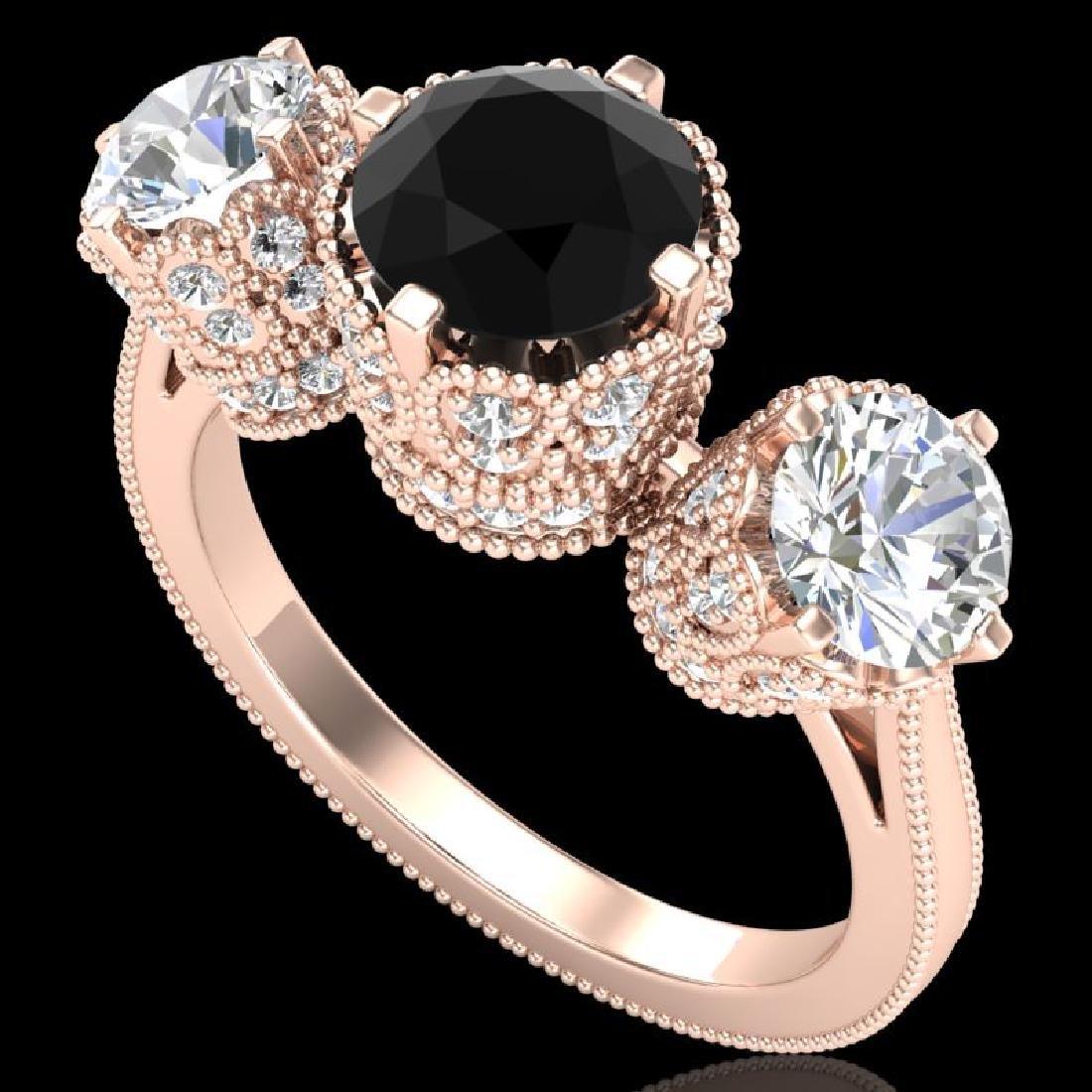 3.06 CTW Fancy Black Diamond Solitaire Art Deco 3 Stone
