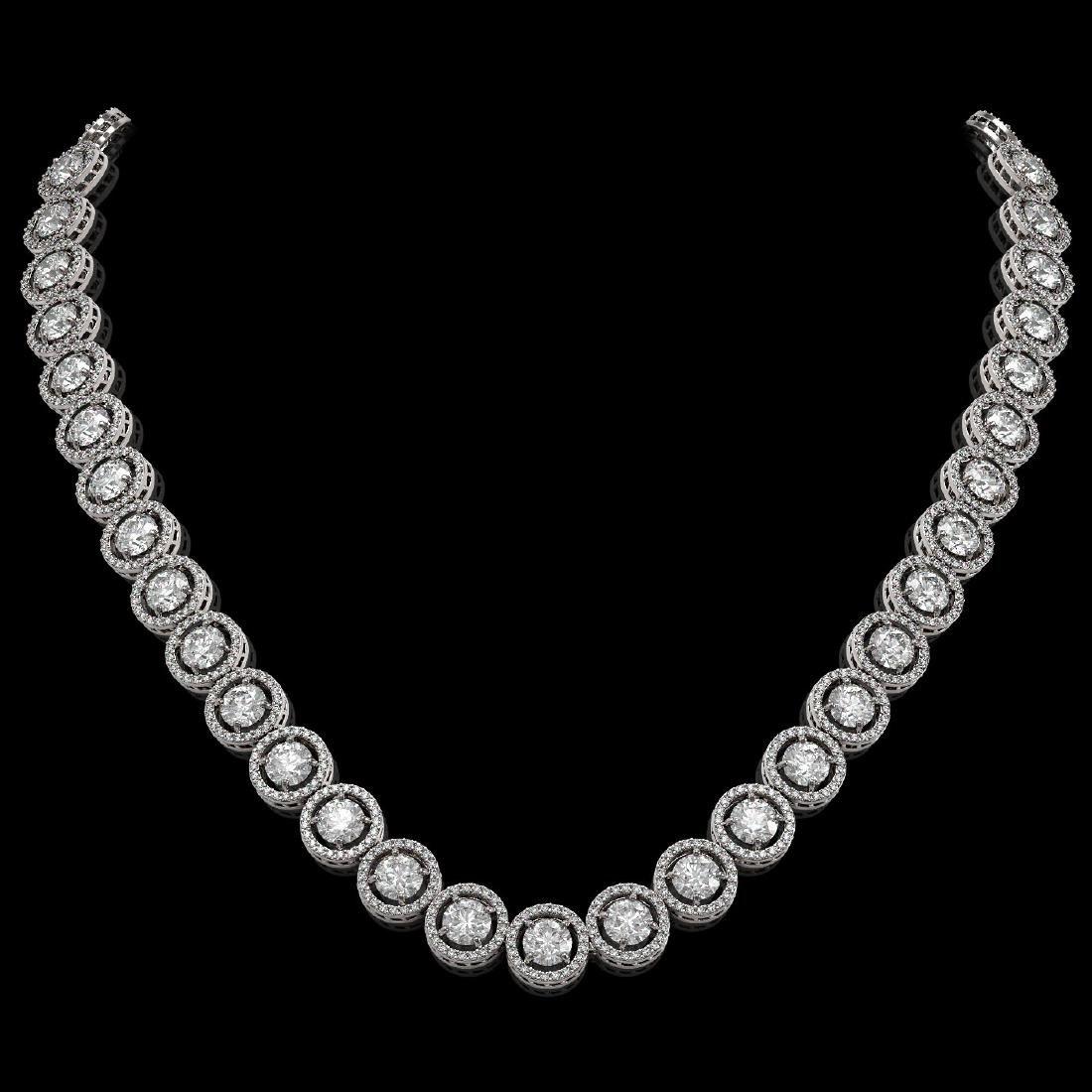 30.78 CTW Diamond Designer Necklace 18K White Gold
