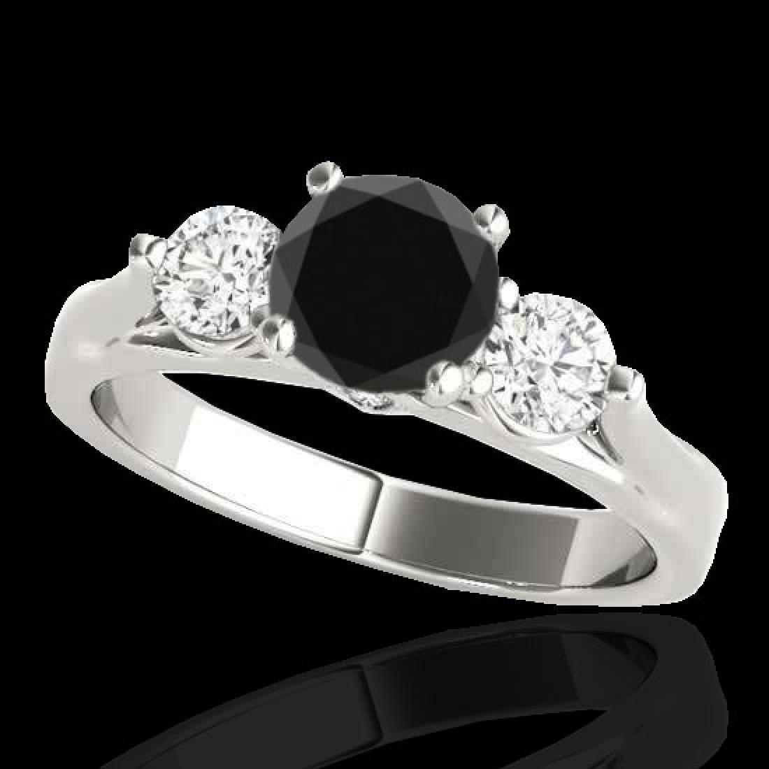 1.5 CTW Certified VS Black Diamond 3 Stone Ring 10K