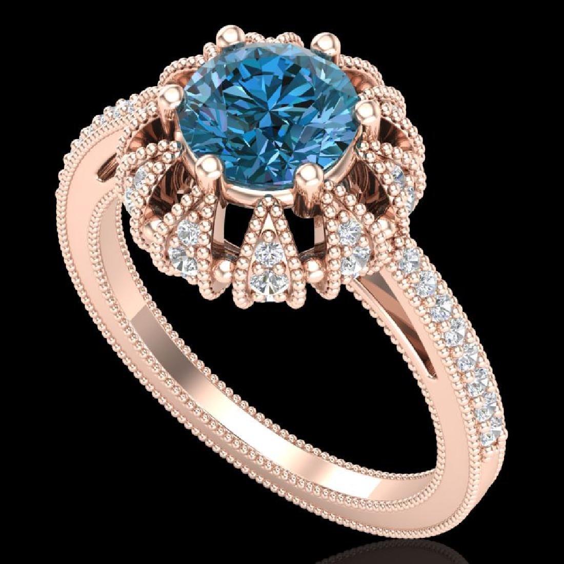 1.65 CTW Fancy Intense Blue Diamond Engagement Art Deco