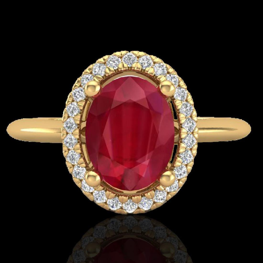 2 CTW Ruby & Micro Pave VS/SI Diamond Ring Solitaire
