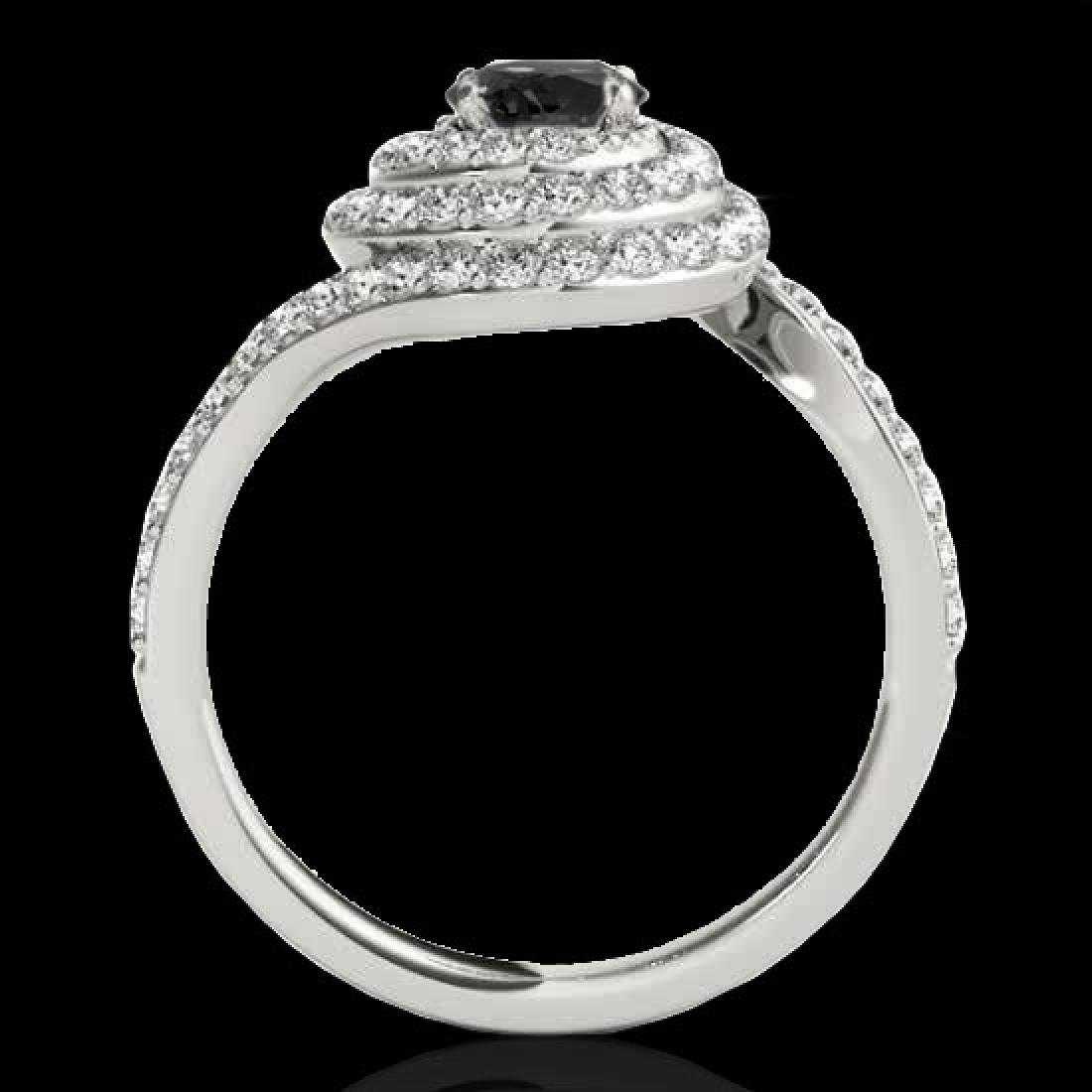 1.86 CTW Certified VS Black Diamond Solitaire Halo Ring - 2