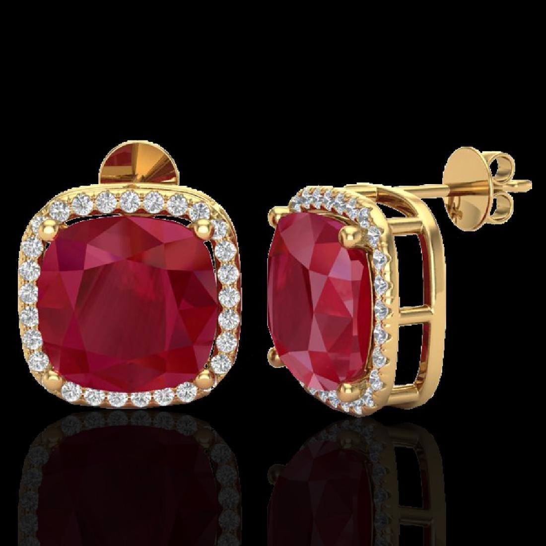 12 CTW Ruby & Micro Pave Halo VS/SI Diamond Earrings - 2